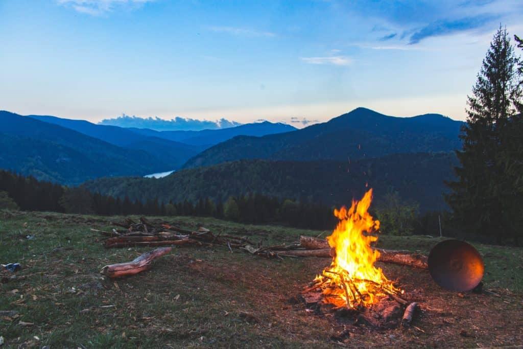 bonfire on mountain